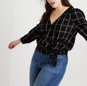 NWT Madewell Plus Wrap Top In Windowpane